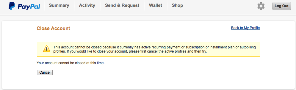 Close Your Paypal Account