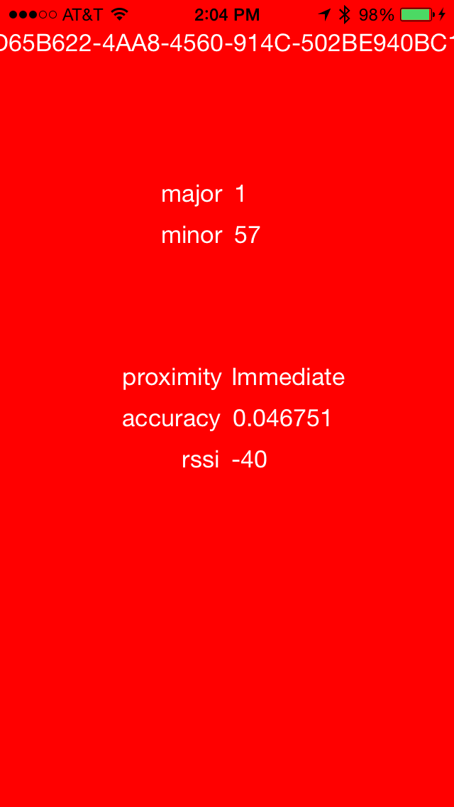 'an image of Roy G. Beacon app with a red background showing my device'