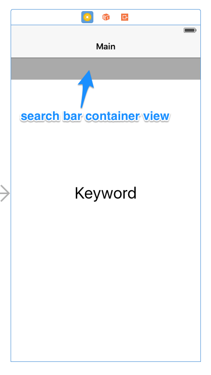 'Main scene showing search bar container view'
